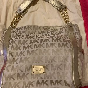 Michael kors monogram MK metallic gold  bag